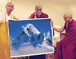 His Holiness the XIV Dalai Lama with a gift from Sergey Melnikoff aka MFF
